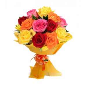 4 Mixed Color of 1 dozen Holland Roses in a Bouquet