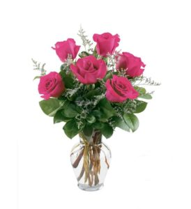 6 pcs Pink Holland Roses in a Vase with 16inches Teddy Bear