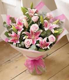 6 Pcs Stargazer Lilies with 6Pcs Pink Roses in a Bouquet