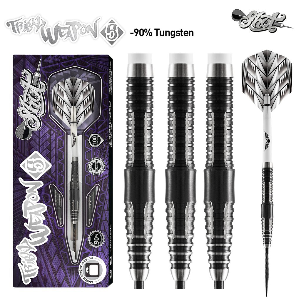 Shot Tribal Weapon 5 Darts Set 90% Tungsten 25g