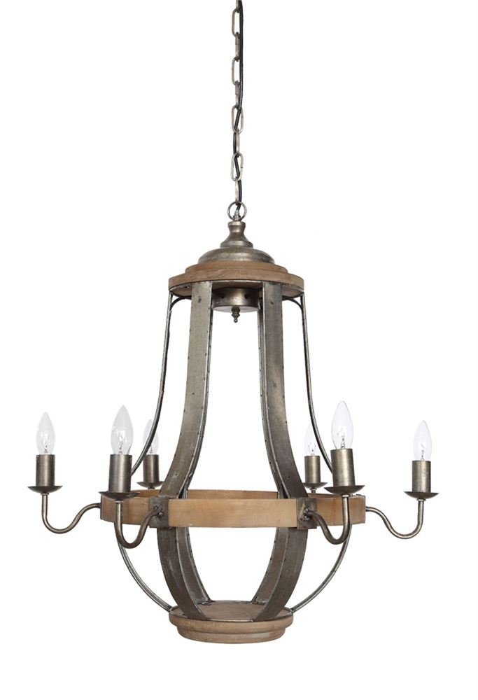 Metal & Wood Chandelier w/ 6 Lights