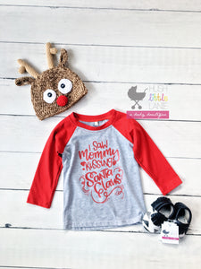 {SHIRT} I Saw Mommy Kissing Santa Clause Raglan