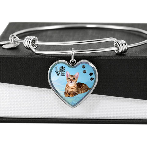 Toyger Cat Print Heart Pendant Bangle-Free Shipping