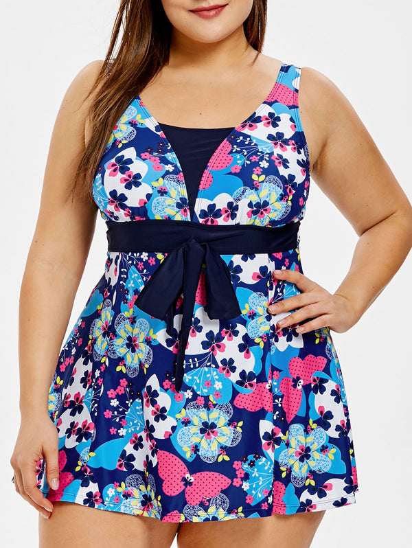 Plus Size Floral Print Self Tie One Piece Swimsuit