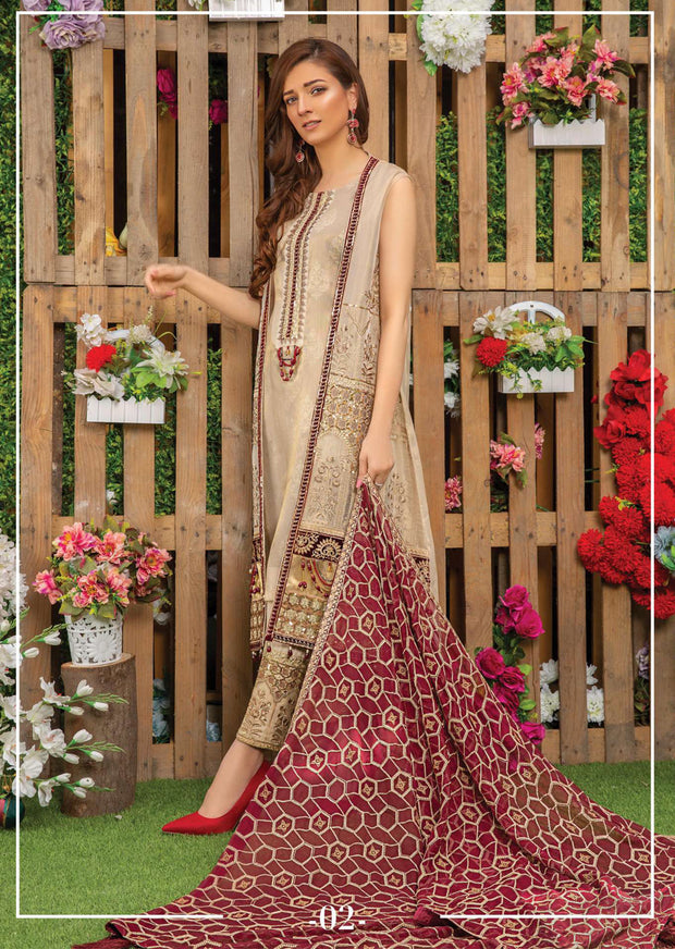 02 Beige Regalia - Sofia Khas - Readymade Fancy Suit Eid Collection 2019 Jacket Style - Memsaab Online