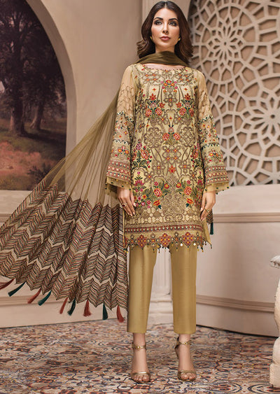 01186cb29a 03 Kashm - SHAHNAMEH Embroidered Chiffon Eid Collection by Jazmin -  Unstitched Pakistani elite Designer suit