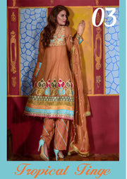 03 Tropical Tinge - Orange - Sofia Khas - Readymade Pakistani designer suit - UK Delivery - Memsaab Online