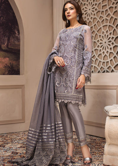 bcb8ee335c 04 Afshaneh - SHAHNAMEH Embroidered Chiffon Eid Collection by Jazmin -  Unstitched Pakistani elite Designer suit