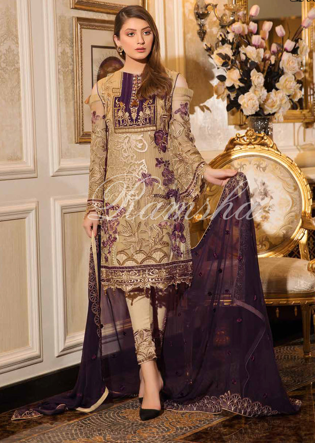 F - 1601 Ramsha Vol 16 - Eid Embroidered Chiffon Collection 2019 Pakistani Designer wear - Memsaab Online