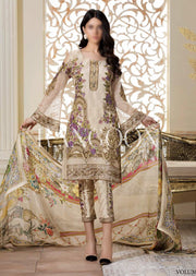 D-301 Gilded Gardenia - Ramsha Rangoon vol 3 READYMADE Pakistani designer chiffon collection wedding Eid Partywear - Memsaab Online