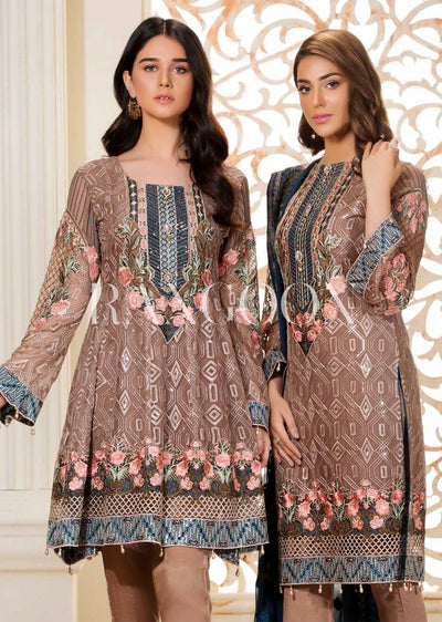 D-305 Mystic Sea - Ramsha Rangoon vol 3 Unstitched Pakistani designer chiffon collection wedding Eid Partywear - Memsaab Online