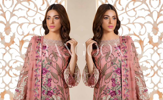 D-312 Powder Pink - Ramsha Rangoon vol 3 READYMADE Pakistani designer chiffon collection wedding Eid Partywear - Memsaab Online