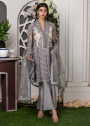 Synthia - Grey - Memsaab Exclusive Ready to Wear Eid Collection - Partywear Net Organza Dresses - Memsaab Online