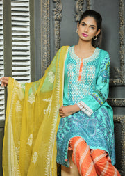AMT1103 (A Line) - Turquoise - Memsaab Festive Lawn - Readymade - Pakistani Embroidered Designer Ready to Wear Suit - Memsaab Online