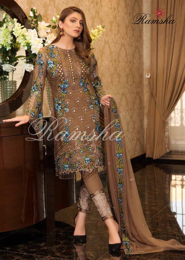 F - 1606 Ramsha Vol 16 - Eid Embroidered Chiffon Collection 2019 Pakistani Designer wear - Memsaab Online