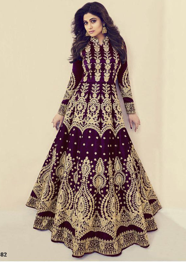 8082 - Unstitched - C - Aashirwad INSPIRED / REPLICA - India heavily embroidery gown with lengha - Memsaab Online