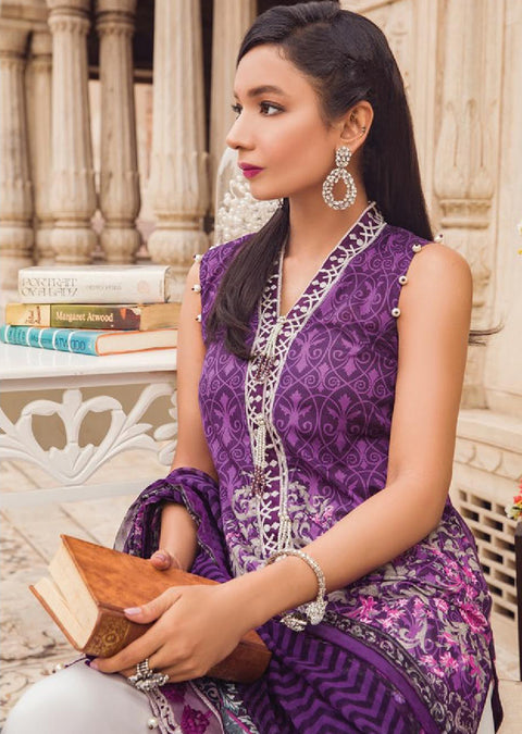 GL-01 Amethyst - Unstitched - Gulaal Lawn Collection Volume 2 - pakistani Designer lawn collection ORIGINAL - Memsaab Online