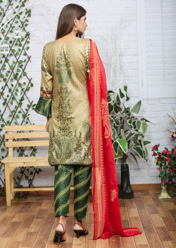 AMT1103 (Kameez Style) - Green - Memsaab Festive Lawn - Readymade - Pakistani Embroidered Designer Ready to Wear Suit - Memsaab Online