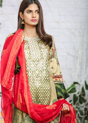 AMT1103 (A Line) - Green - Memsaab Festive Lawn - Readymade - Pakistani Embroidered Designer Ready to Wear Suit - Memsaab Online