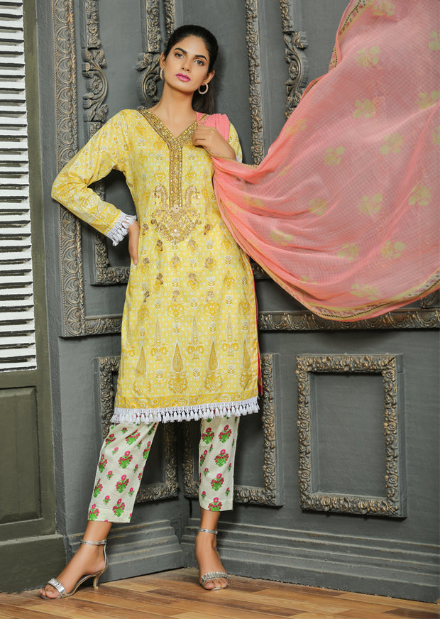 AMT1106 - Yellow - Memsaab Festive Lawn - Readymade - Pakistani Embroidered Designer Ready to Wear Suit - Memsaab Online