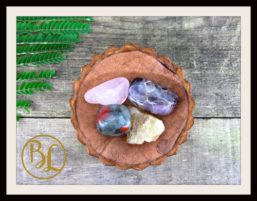 CLEANSING CHAKRA Gemstone 4 Kit Stones Crystal Healing Cleansing Chakra Intention Lithiotherapy