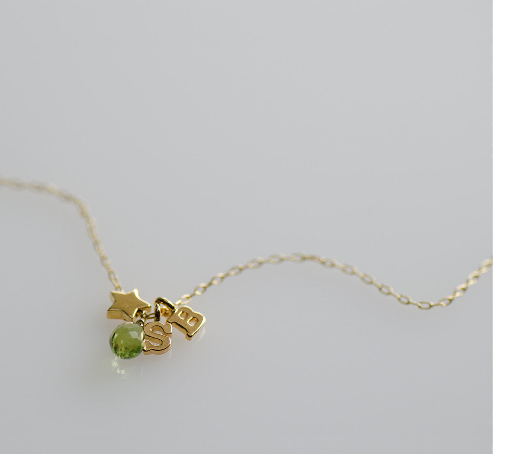 Peridot Star Letter Charm Necklace