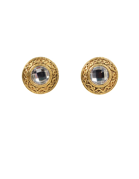 Chanel 90s Goldtone Clip On Earrings w/ Crystals