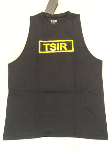 TSIR Black With Yellow Logo Muscle Tank