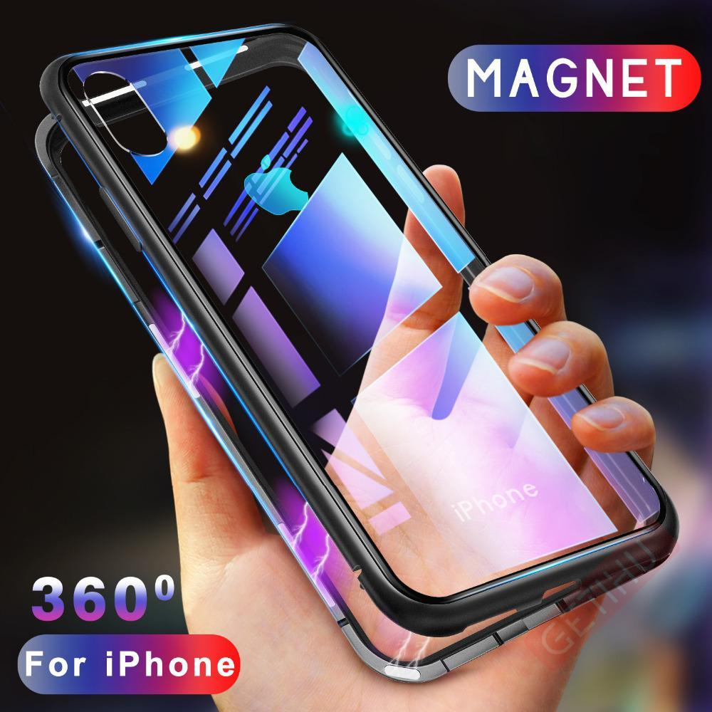 METAL MAGNETIC FRAME FULL COVER Glass Protective Case For iPhone XS Xs Max XR X/8/8Plus/7/7Plus/6/6s/6Plus/6sPlus