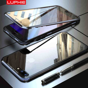 Magnetic Adsorption Transparent Tempered Glass Two side Glass Cover Phone Case For iPhone 7 8 Plus