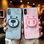 Cute marbled bear piggy card case for iPhone6S/6SPlus /7/8Plus/X/XS/XR/XS MAX