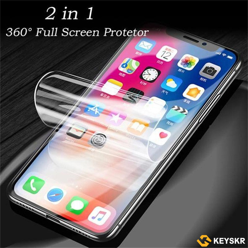 iPhone Samsung Huawei with Free Gift 2 in 1 360° Full Screen Protector Film With Full set of Accessories Front and Back Film for iPhone X/XS/XS Max/XR/8/7/6/6s/HUAWEI P20/Mate 20/Samsung S8/S8 Plus/S9/S9 Plus/Note 8/Note 9 Screen Protective