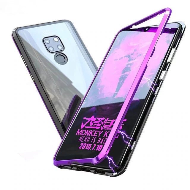 Huawei Mate 20 Case Luxury Hard Magnetic Metal Aluminum Alloy Transparent Glass Armor Protect Phone Case for Mate 20 Cover