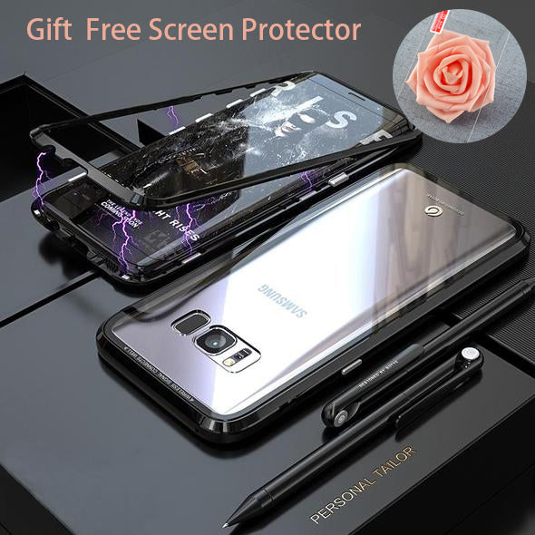 ANTI-KNOCK METAL MAGNETIC FRAME With Free Screen Protector 9H TRANSPARENT  Glass Protective Case  For SAMSUNG S8/S8 PLUS