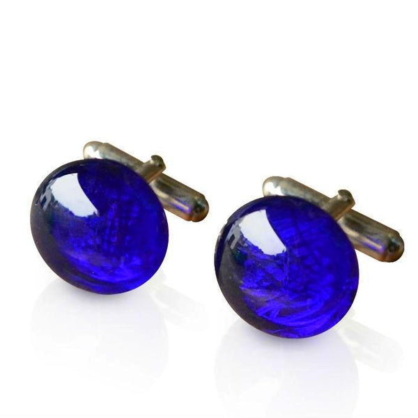 Cobalt Blue Glass Silver Plated Cufflinks