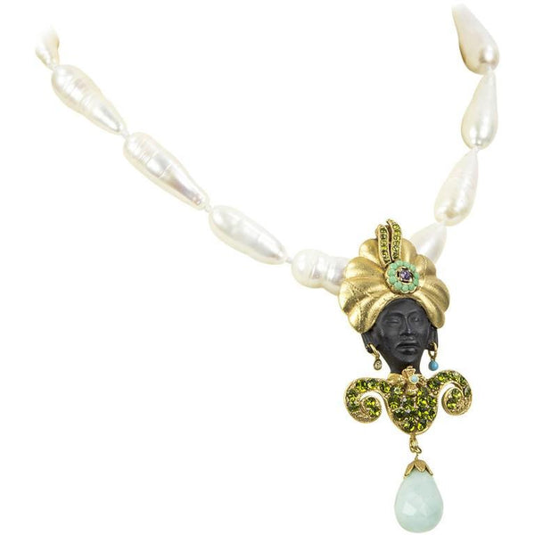 Askew London Jewel Blackamoor Brooch Pin and Pearl Statement Necklace