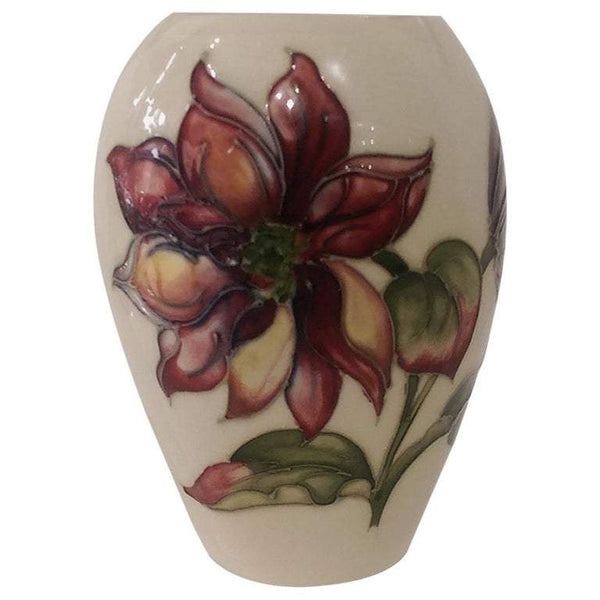 Vintage Moorcroft Pottery Vase in the Clematis Flowers Pattern Estate England