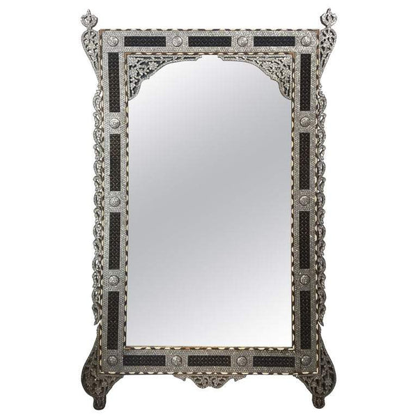 Large Antique Decorative Wall Mirror Mother of Pearl Inlay, circa 1910