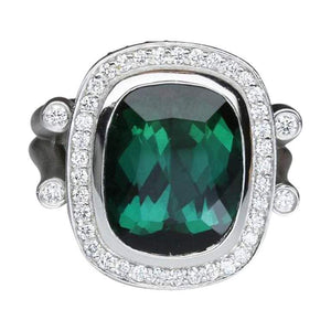 8.50 Carat Cushion Cut Green Tourmaline Diamond Ring Estate Fine Jewelry