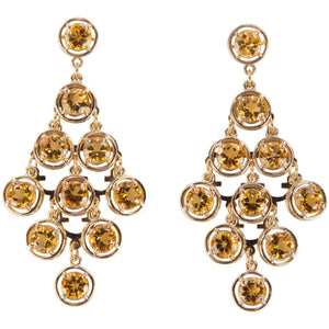 Citrine Chandelier Gold Statement Earrings