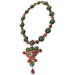 Tony Duquette Ruby, Star Ruby, Agate, Emerald and Diamond Gold Brooch Necklace