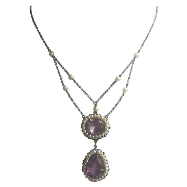 Antique Amethyst Pearl Sterling Silver Y Statement Necklace Fine Estate Jewelry