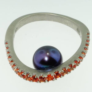 Beautiful Black Pearl and Orange Sapphire Statement Ring