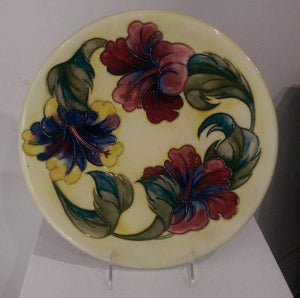Vintage Large Moorcroft Pottery Charger Plate Hibiscus Flowers Estate England