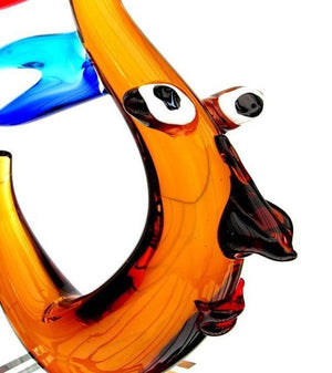 Exceptional Multi Sommerso Picasso Style Abstract Face Art Glass Sculpture