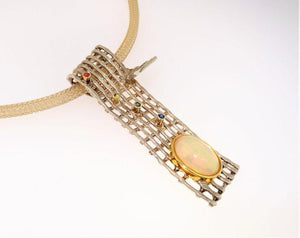 Vintage Opal Sapphire Sterling Silver Gold Pendant Necklace Estate Fine Jewelry