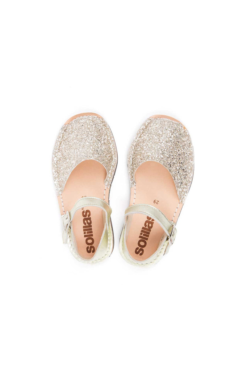 Gold Glitter - Metallic Leather Sandals