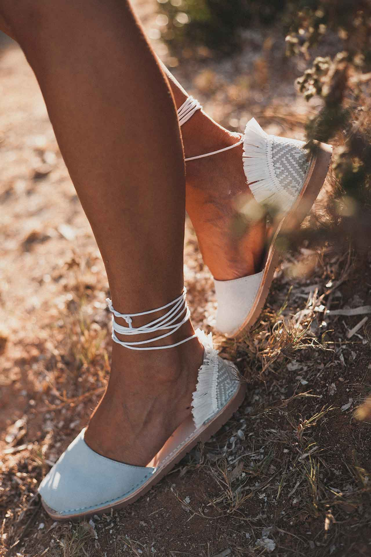 Cubano - Leather Fringe Ankle Tie sandals