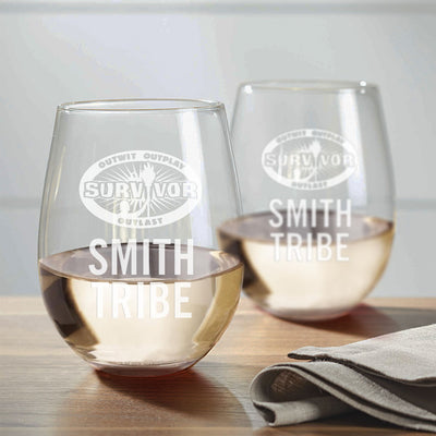 Survivor Outwit, Outplay, Outlast Personalized Stemless Wine Glass - Set of 2 | Official CBS Entertainment Store