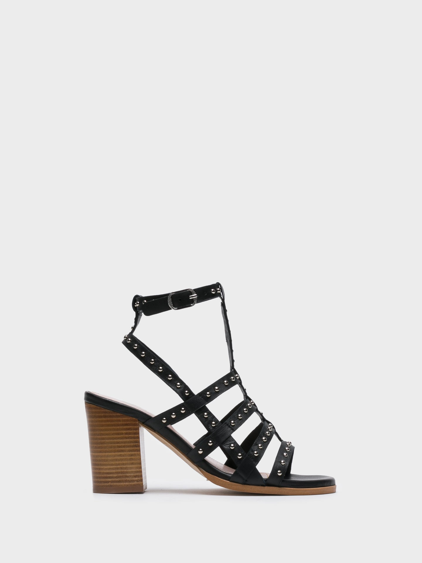 JJ Heitor Black Strappy Sandals